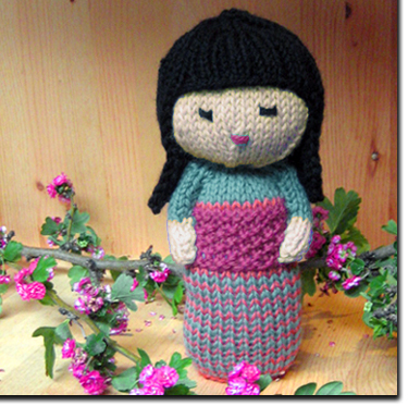 Knitting Patterns And Kits From Knitwhits Sakura Kokeshi Doll Aqua